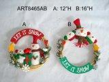 """9.5 """" [ه] [سنتا], رجل ثلج وقزمة عيد ميلاد المسيح زخرفة إكليل, 3 [أسّت]"""