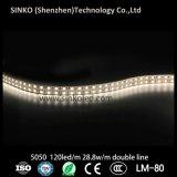 Lumière flexible puissante de corde de DEL avec 120LEDs/M 28.8W avec la ligne simple ou à deux lignes