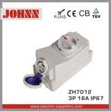 스위치와 기계적인 내부고정기에 IP67 3p 16A 소켓