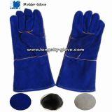 Blue Color Cow Split Leather Gant de travail en soudure entièrement doublée (Gant de soudure-Gant en cuir)