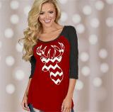 색깔 t-셔츠 (80009)를 인쇄하는 새로운 디자인 크리스마스 주제