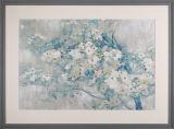 Art de mur de style chinois Peinture de fleurs en cadre en bois