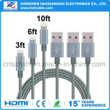 Cable trenzado de nylon del cargador del USB de los 3.3FT