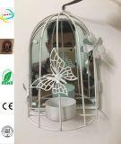 Decoración de jardín de metal jaula de pájaros suspenso titular de la vela