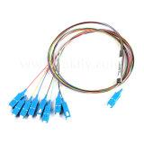 1X8 1X16 Mini el tubo de acero de fibra óptica SC APC PLC Splitter