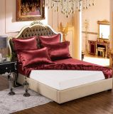 Conjunto puro rojo de lujo verdadero inconsútil de seda estándar de la hoja de la seda de mora de ropa de cama de Oeko-Tex 100 de seda de la serie de la elegancia de la nieve de Taihu 19momme Borgoña