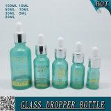 Aceite Esencial de cosméticos de color azul transparente Frasco de vidrio con cuentagotas pipetas de transferencia