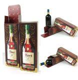 Boîte-cadeau ondulée de luxe de papier de vin de 2 bouteilles