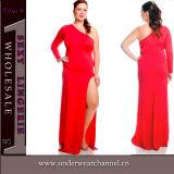 Venda quente mais o vestido longo L-3XL do baile de finalistas das luvas do partido das mulheres do tamanho (TMK537)