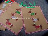 Personnaliser le sac de papier de cadeau promotionnel d'impression de modèle de Noël avec le traitement de bande de Grosgrain