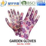 Сад перчатки, печать Polyestershell прозрачных нитриловые покрытием гладкая отделка, рабочие перчатки (G1000) с маркировкой CE, EN388 En 420