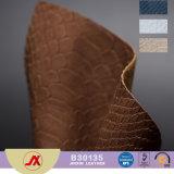 고품질 모조 고대 가짜 PVC 부대를 위한 가죽 직물 Snakeskin 털쪽을 겉으로 하여 다듬은 가죽 또는 소파 또는 차 또는 단화