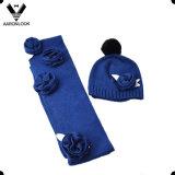Señora flor de ganchillo bufanda de la manera Sombrero 2 piezas de invierno Conjunto caliente