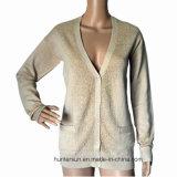 As mulheres Intarsia Gold-Yarn camisolas com bolso Long-Sleeve Cardigan Suéter (HS50105)