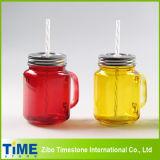 El color rociado Mason jar con la paja