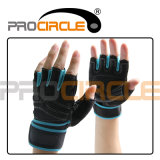 Finger Half- Polyester Fitness Gloves con Black e Blue Edges (PC-CG1015)