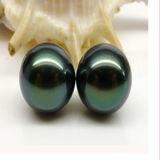 孔雀Green Undrilled Natural Loose Tahitian Pearls 13-14mm AAA Wholesale