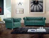 Кожаный Диван Честерфилд зеленый цвет МС-10
