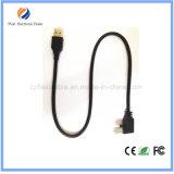Cable de 90 del grado de ángulo recto del USB 2.0 del cargador datos micro de la sinc.