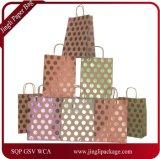 Kraft подарок мешки, фольга Hot-Stamp-Polka Dot печать бумажных мешков для пыли, подарочный пакет, сумку для бумаги