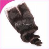 Волосы Remy девственницы оптового верхнего закрытия шнурка бразильские