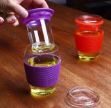 Tasse en verre de cuvette de café de course de qualité avec le couvercle