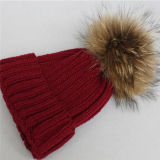 Knitted Winter Hat with Real Fur Pompom