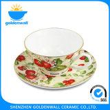 250ml/5.75 '' tazza di caffè fine di Cina di osso con il piattino