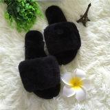 Высшее качество последней открытым носком кролик мех/ Фо мех дома крытый зимний женщин тапочки