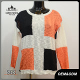 Frauen-Form-Kreuz-Kontrast-Farben-Pullover