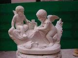 De westelijke Kinderen die van het Beeldhouwwerk het Chinese Snijden van de Baby van de Steen van het Beeldhouwwerk Hand Gesneden Marmeren voor Tuin snijden