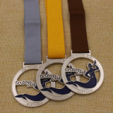 Aduana barata medalla de la depresión del metal de 2 pulgadas en bronce de la plata del oro