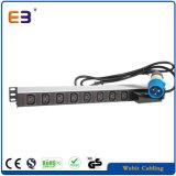 Вертикальная установка промышленных 8 розетки питания IEC с прерывателем цепи