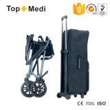 Topmedi 2017 cadeiras de rodas portáteis de pouco peso de alumínio de dobramento da mala de viagem do curso