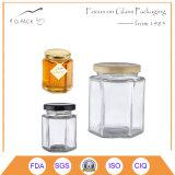 Vaso di vetro quadrato del miele con la protezione del metallo