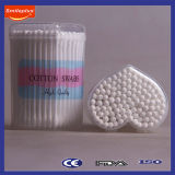3 '' длины Gift Paper Stick Cotton Swabs в Small Heart PP Box