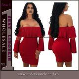 Plus Size mujeres sexy parte mini vestido de cóctel (TBLSN179)