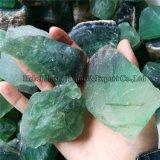 Камни естественного зеленого кварца кристалла утеса фторита сырцового грубые