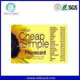 Tarjetas de llamada de encargo de la recarga del PVC de la tarjeta del rasguño