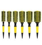 Brosse à cheveux ronde professionnelle thermique Baril en aluminium avec des poils de sanglier et poignée en bois pour souffler le style de séchage de curling de brosse à cheveux en bois