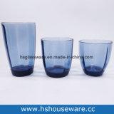En verre coloré de taille différente Tumbler cuvette en verre