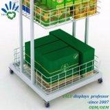 3 Schichten Supermarkt-Metallregal-Bildschirmanzeige-mit Rädern für Förderung