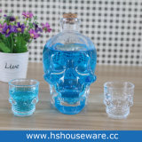 2PCS頭骨の小グラスが付いている頭骨の整形水晶ウィスキーのガラスビン