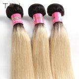 Venda por grosso de cabelo humano Omber Reta Pre-Coloed #1b/613 Loira Remy Brasileira dois pacotes de extensão de cabelo cor de tom (TFH18)