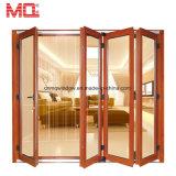 Коммерчески популярная алюминиевая двойная стеклянная дверь складчатости