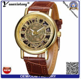 Yxl-838 2016 Nieuwe High-End van het Ontwerp Automatische Horloges van het Skelet van de Band van het Horloge van het Leer van de Polshorloges van Mensen Echte Gouden