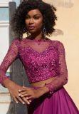 Бусинковый спай длинной втулки Satin Prom вечерние платья (42074)