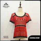 Chandail de crochet Backless rouge à taille haute femme