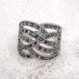 Anillo de dedo cristalino de los accesorios de las mujeres del precio del negro barato de la depresión