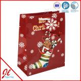Краснокалильный штемпелюя шикарный бумажный подарок кладет бумажные хозяйственные сумки в мешки для рождества 2016